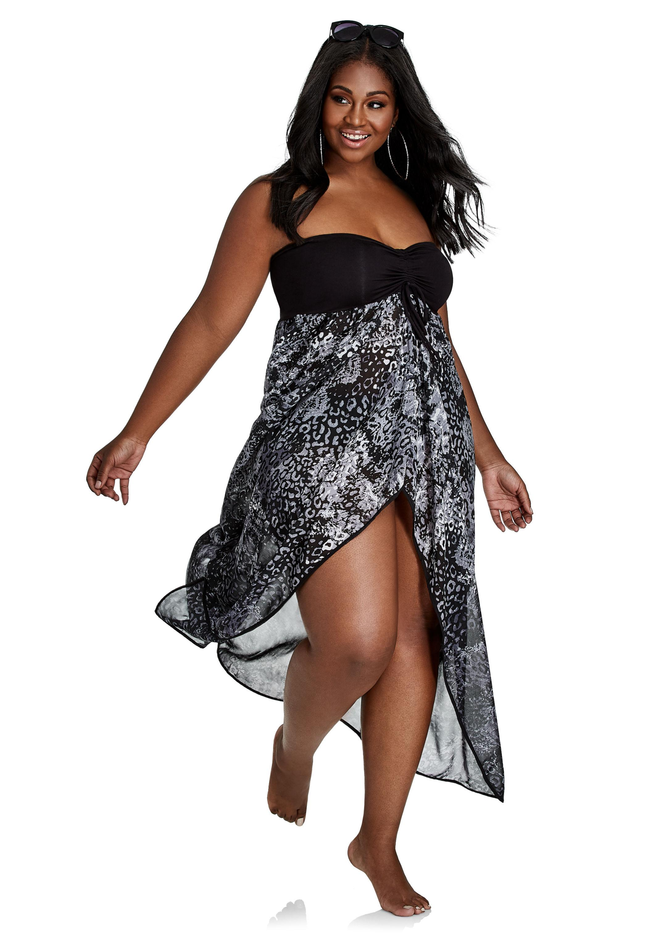 7a79c84e6e1ef Lyst - Ashley Stewart Printed Open-front Swim Cover-up Maxi in Black