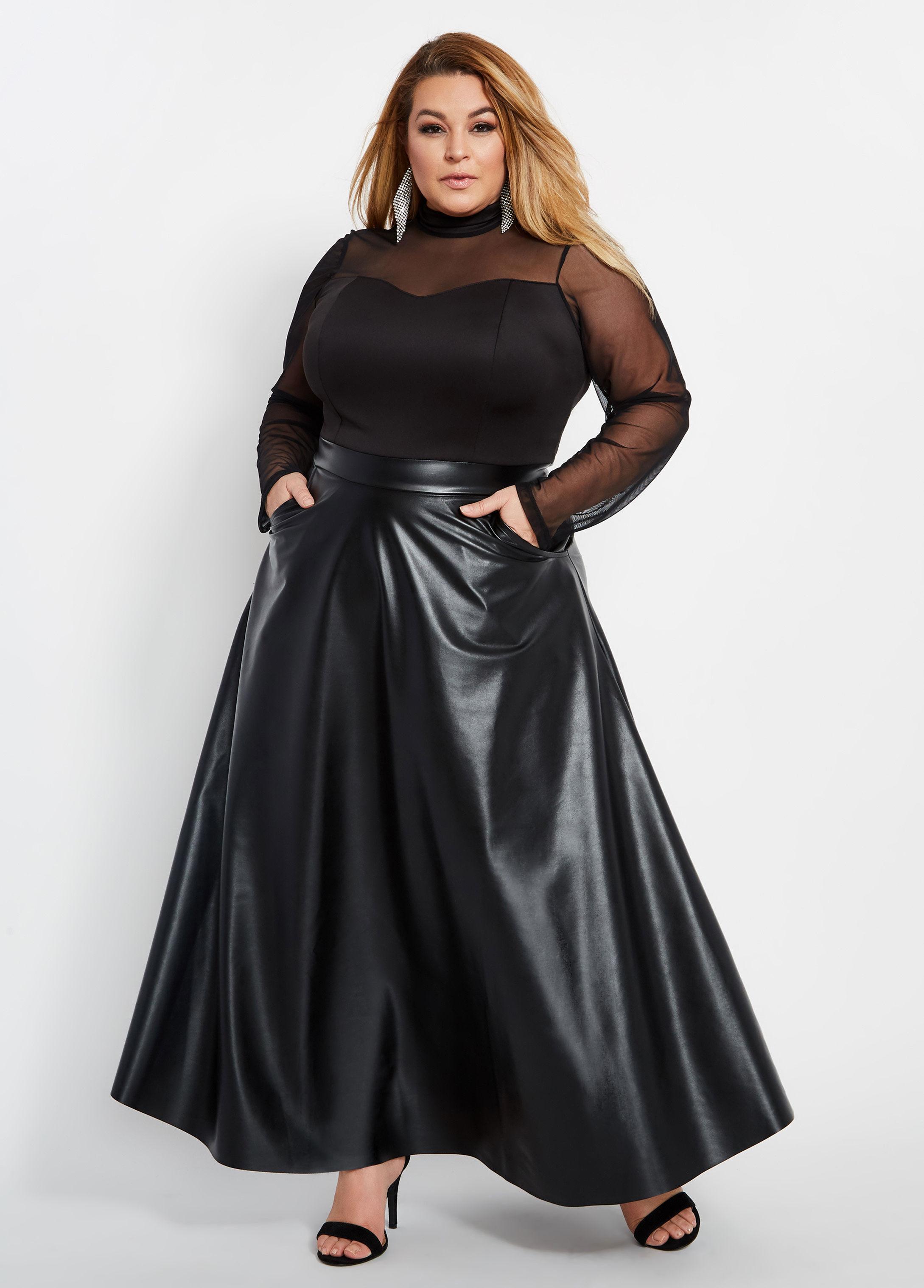 Plus Size Faux Leather Mesh Top Maxi Dress