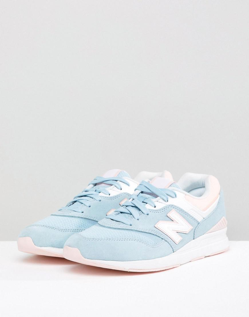 d80ed1dc4528 New Balance 697 Blue And Pink Trainers in Gray - Lyst