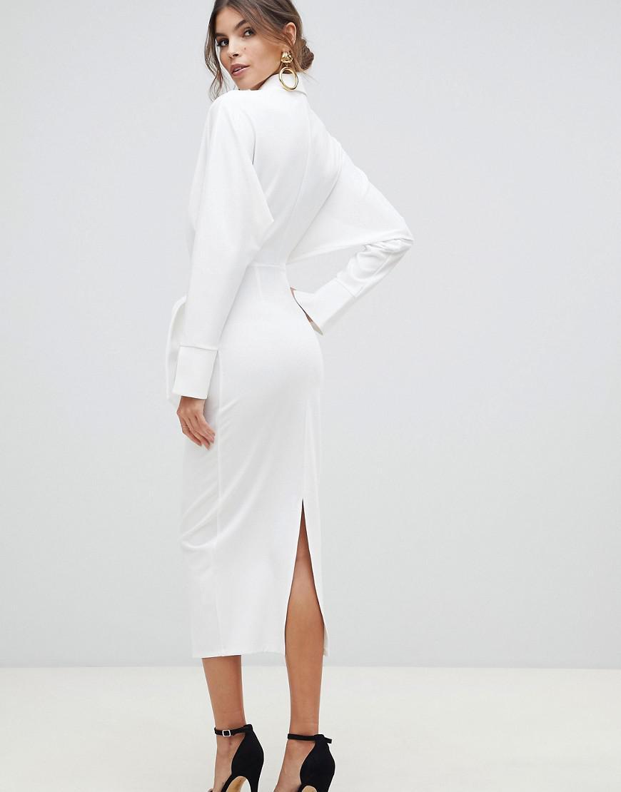 fd7a1effbf ASOS Long Sleeve Wrap Shirt Midi Dress in White - Lyst