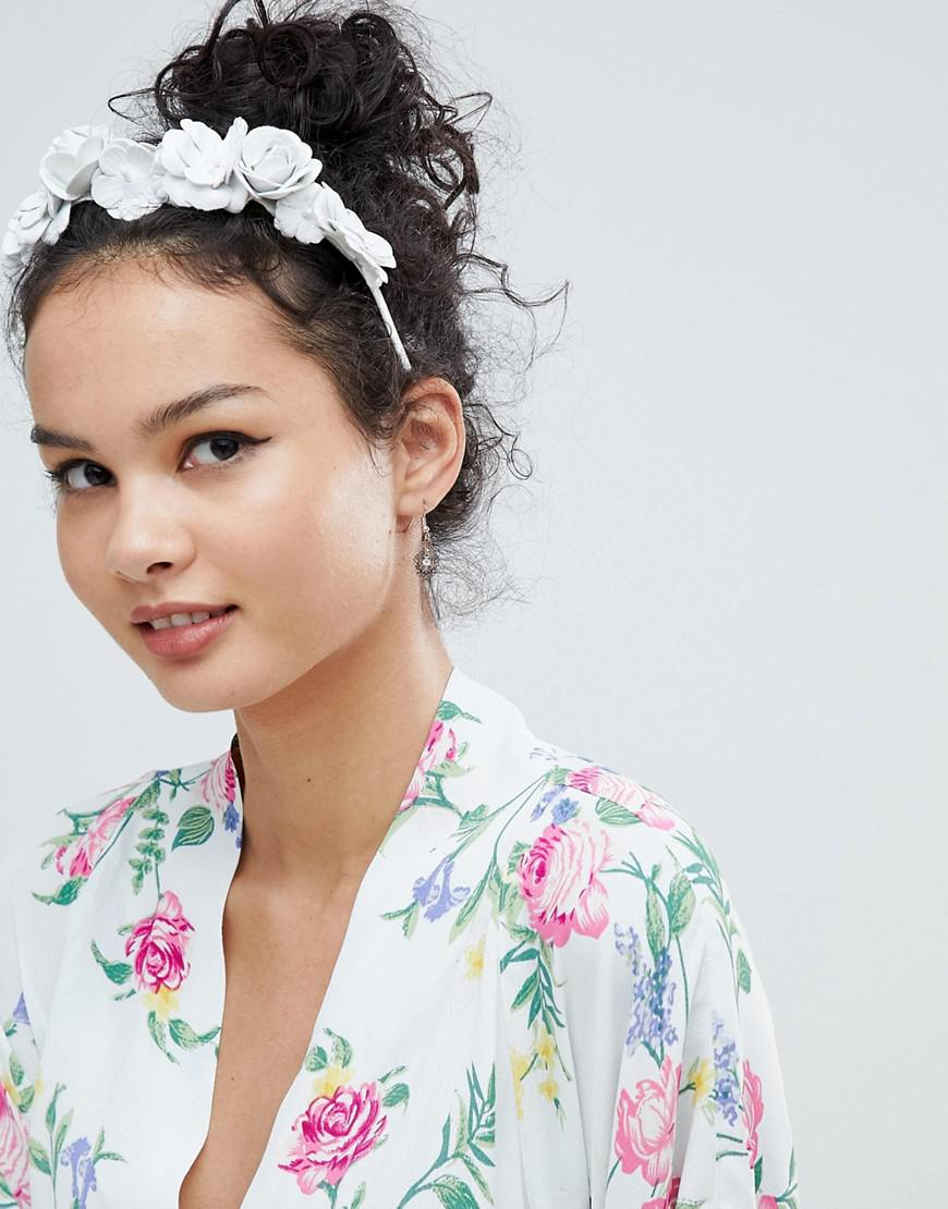 DESIGN Statement Leather Look Floral Headband - White Asos rlF0A