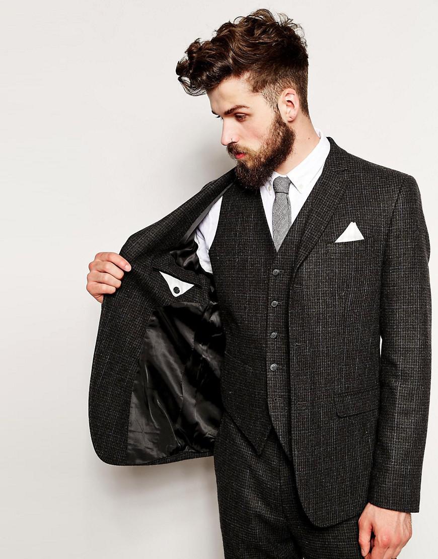 ASOS Wool Slim Fit Suit Jacket In Dogstooth in Grey (Grey) for Men