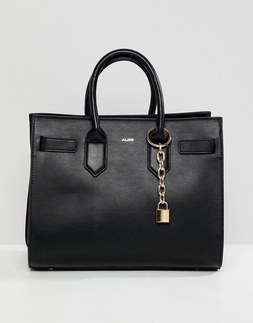 0018a37881c Lyst - ALDO Naura Black Tote Bag With Metal Lock Detail in Black