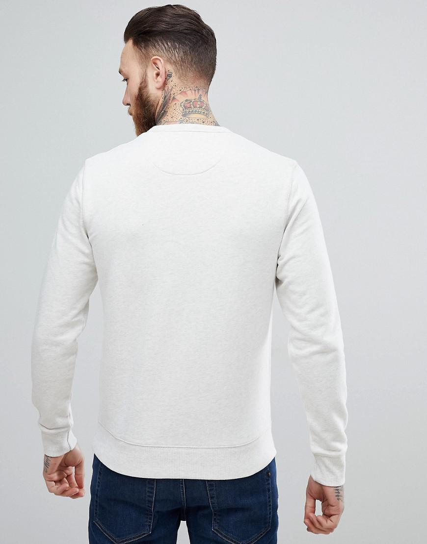 Farah Canvas Tim Slim Fit Crew Neck Sweat in White for Men
