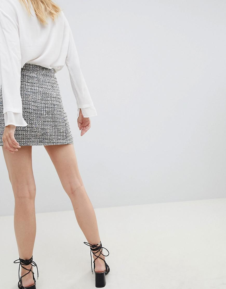 8ea4cd105f9c29 ASOS Asos Design Tall Boucle Mini Skirt With Asymmetric Zip - Lyst