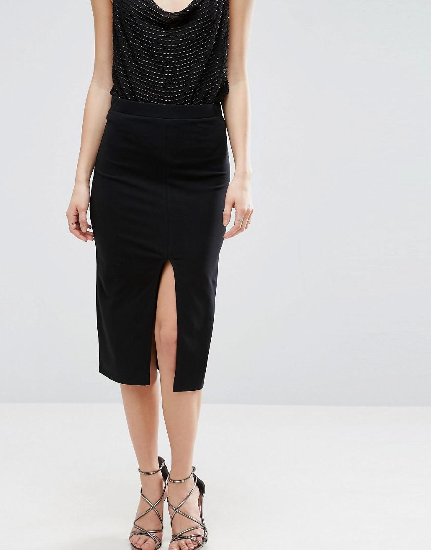 Asos Pencil Skirt With Front Split In Black Lyst