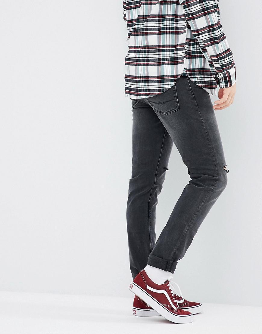 ASOS Denim Asos Skinny Jeans In Washed Black With Knee Rips for Men