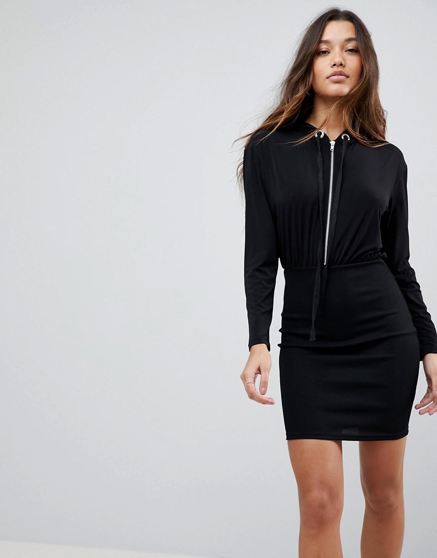 Asos Asos Bodycon Rib Mini Dress With Slinky Hood Top in Black - Lyst 81dfefea4