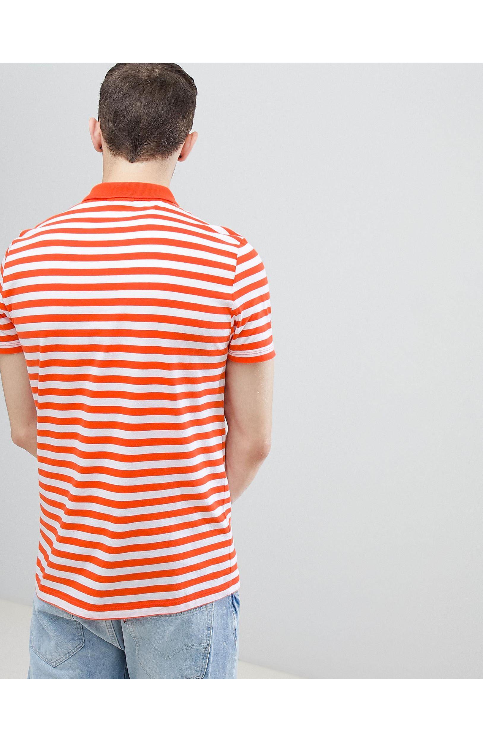 ASOS Polo Met Oranje En Witte Strepen in het Oranje voor heren