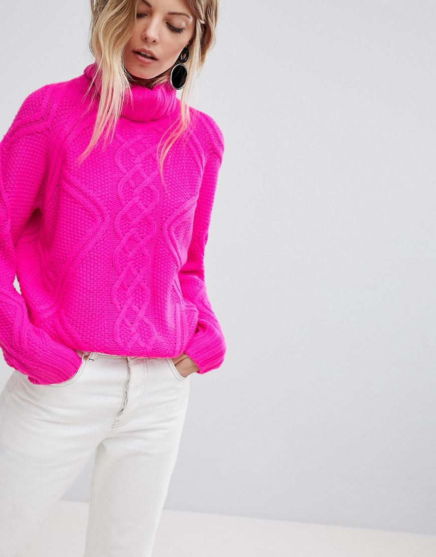 2476d9d49822 Oasis Chunky Cable Knit Roll Neck Sweater in Pink - Lyst