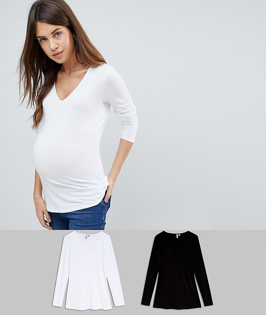 c8d193026a9b9 ASOS. Women's White Asos Design Maternity Ultimate Top With Long Sleeve And  V-neck 2 Pack Save