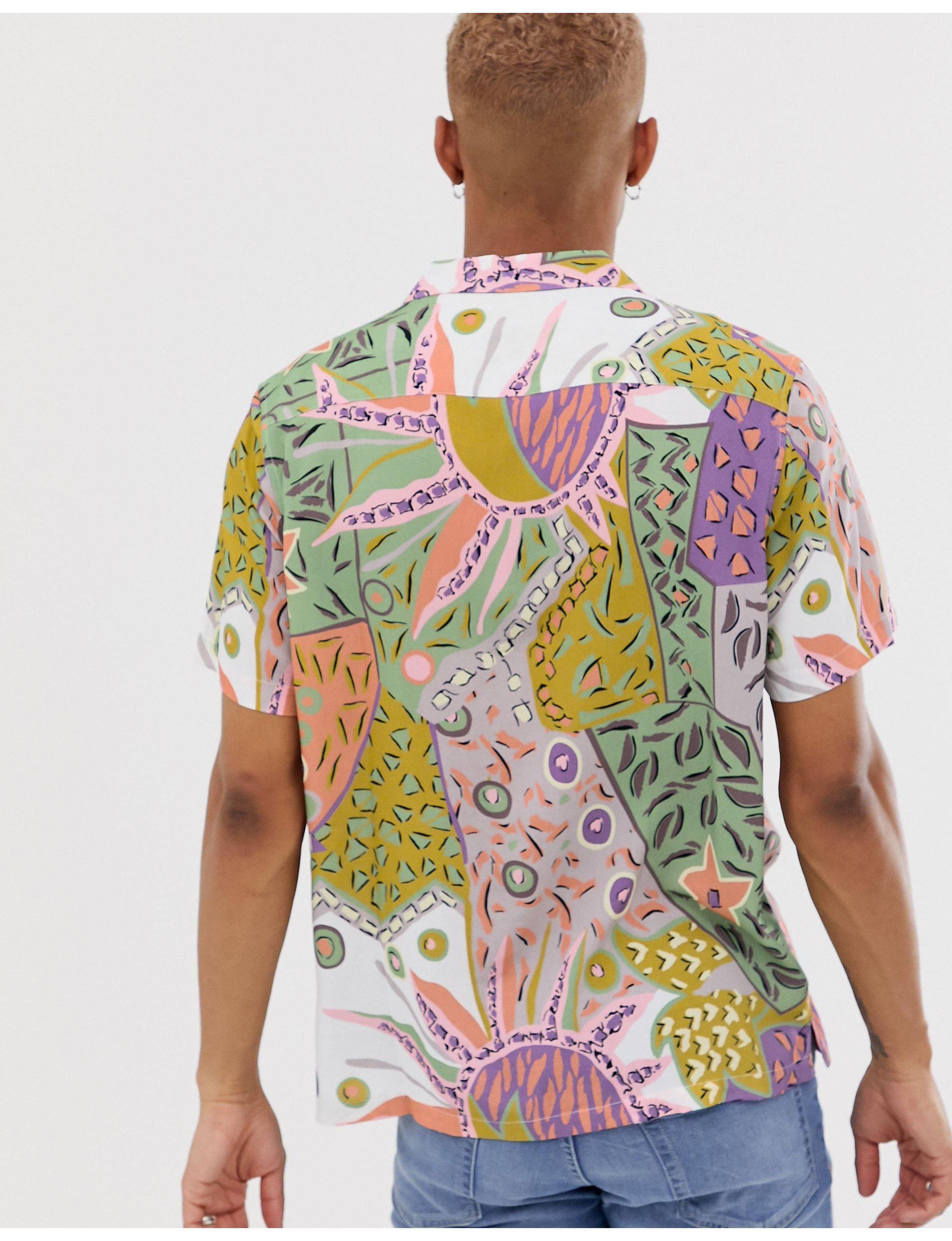 ASOS Synthetisch Oversized Overhemd Met 90's Print in het Groen voor heren