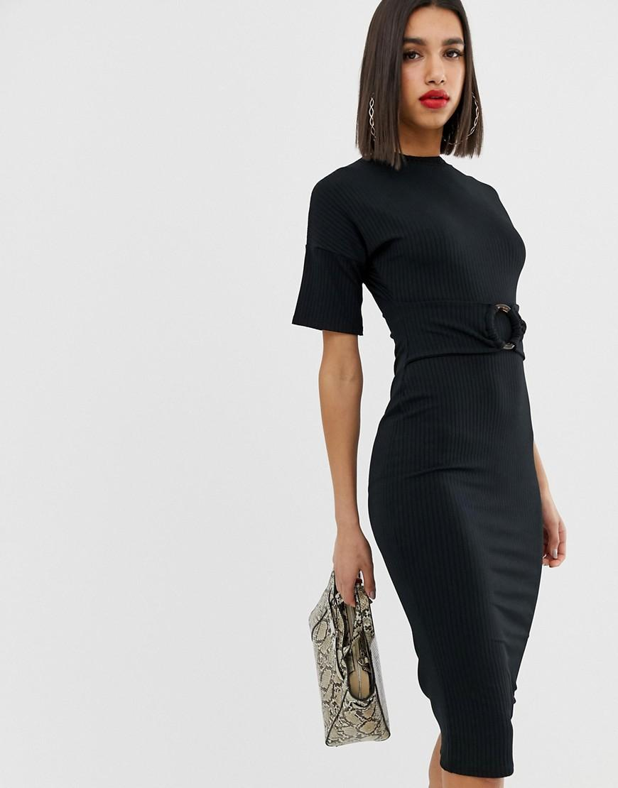 d9d8e2ae83dba Asos Rib Midi Dress With Ring Detail in Black - Lyst