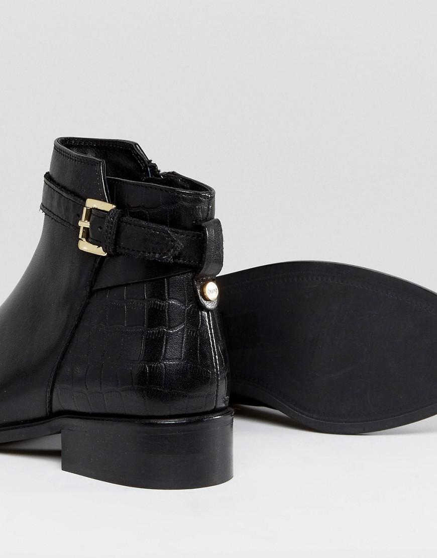 Dune Poppy Leather Buckle Ankle Boots in Black