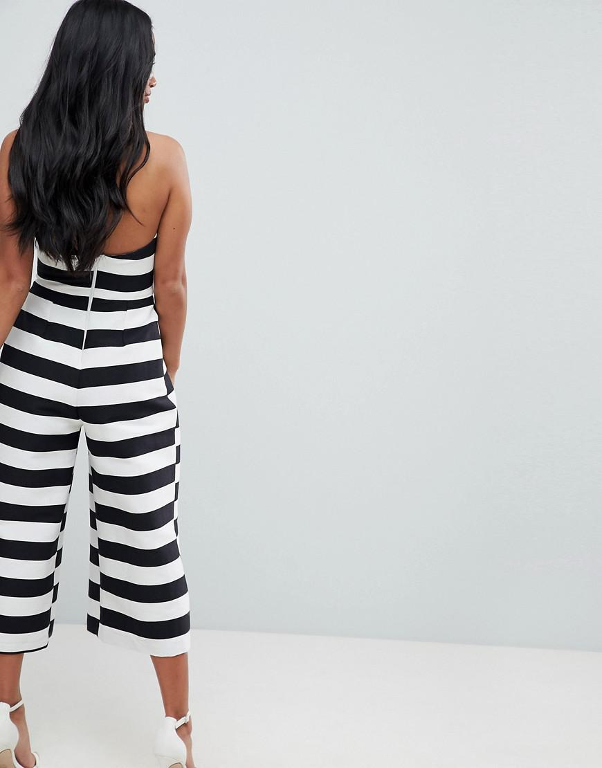 0cf461022490 Lyst - ASOS Bow Jumpsuit In Structured Fabric In Stripe in Black