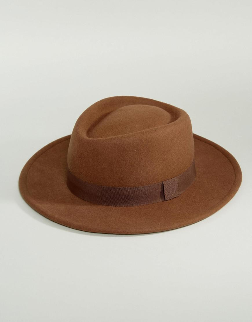 e76da1ab21ad1 ASOS Pork Pie Hat In Camel With Diamond Crown in Brown for Men - Lyst