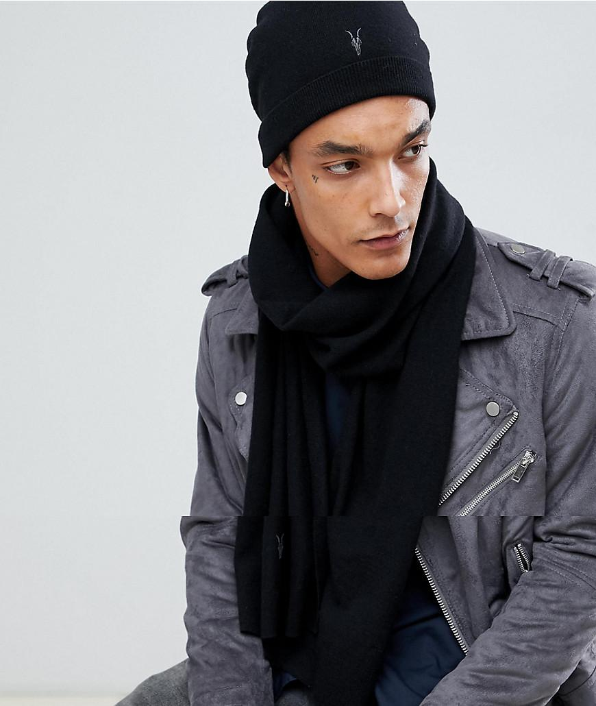 69a50ef63 AllSaints Black Fen Beanie And Scarf Giftset In Lambswool Blend for men