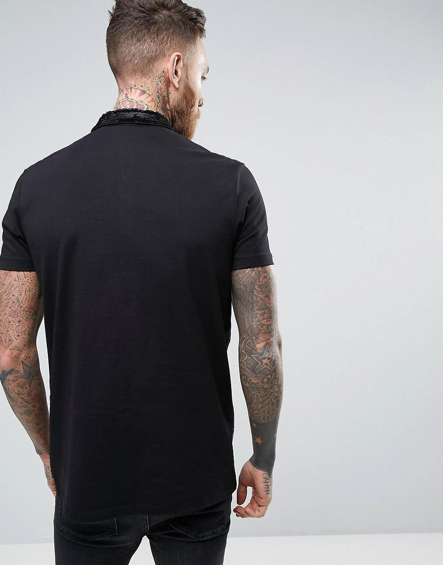 ASOS Cotton Longline Polo Shirt In Black With Striped Sequins for Men