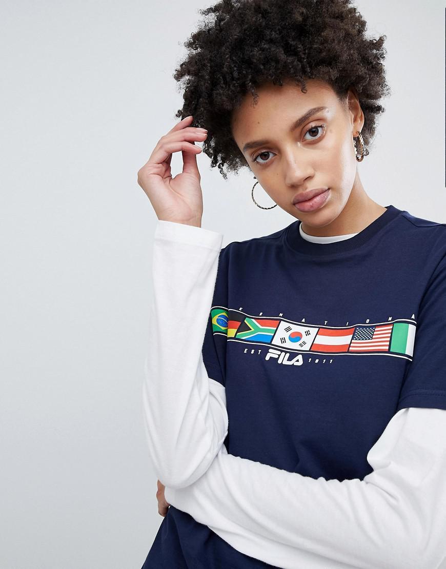 Fila T shirt oversize à imprimé drapeau