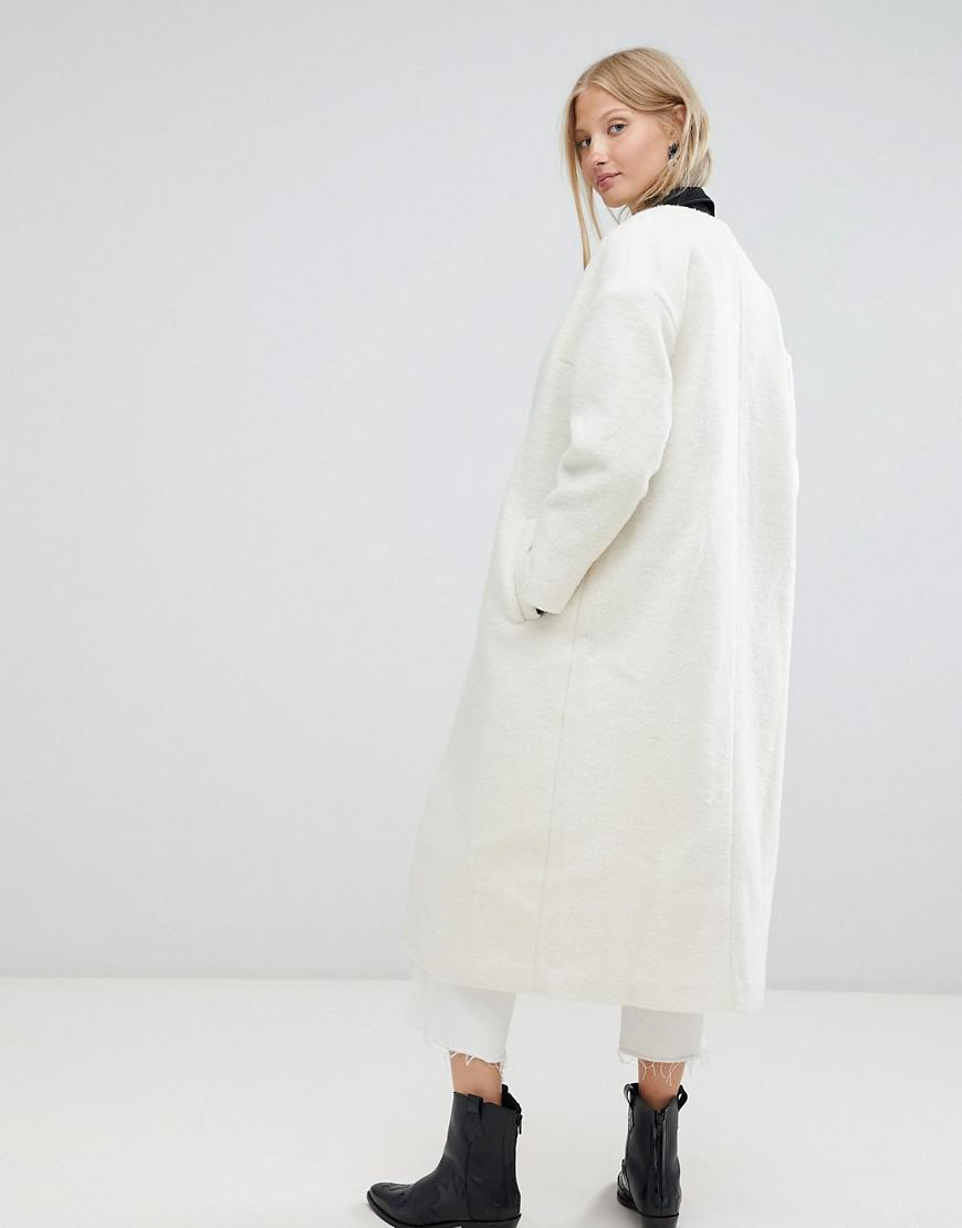 48cc018b51c Lyst - d.RA Elia Collarless Longline Duster Coat