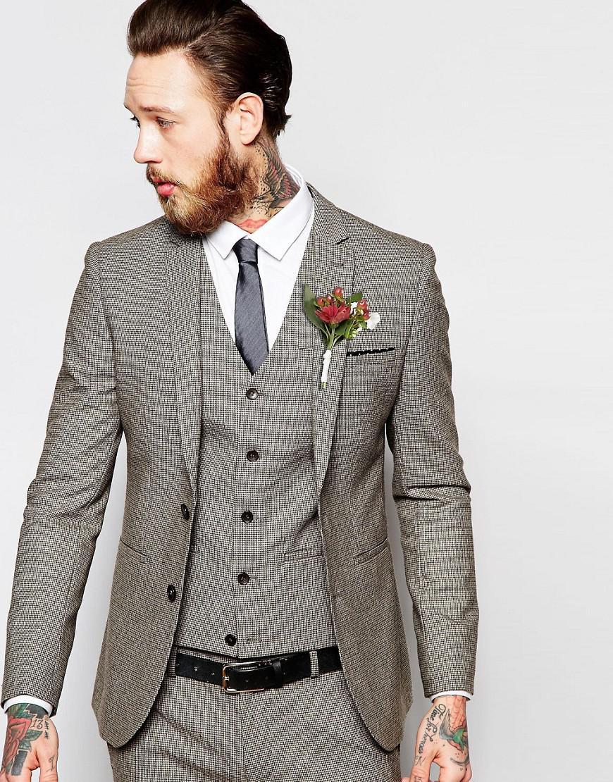 ASOS. Men's Wedding Super Skinny Suit Jacket In Brown Dogstooth