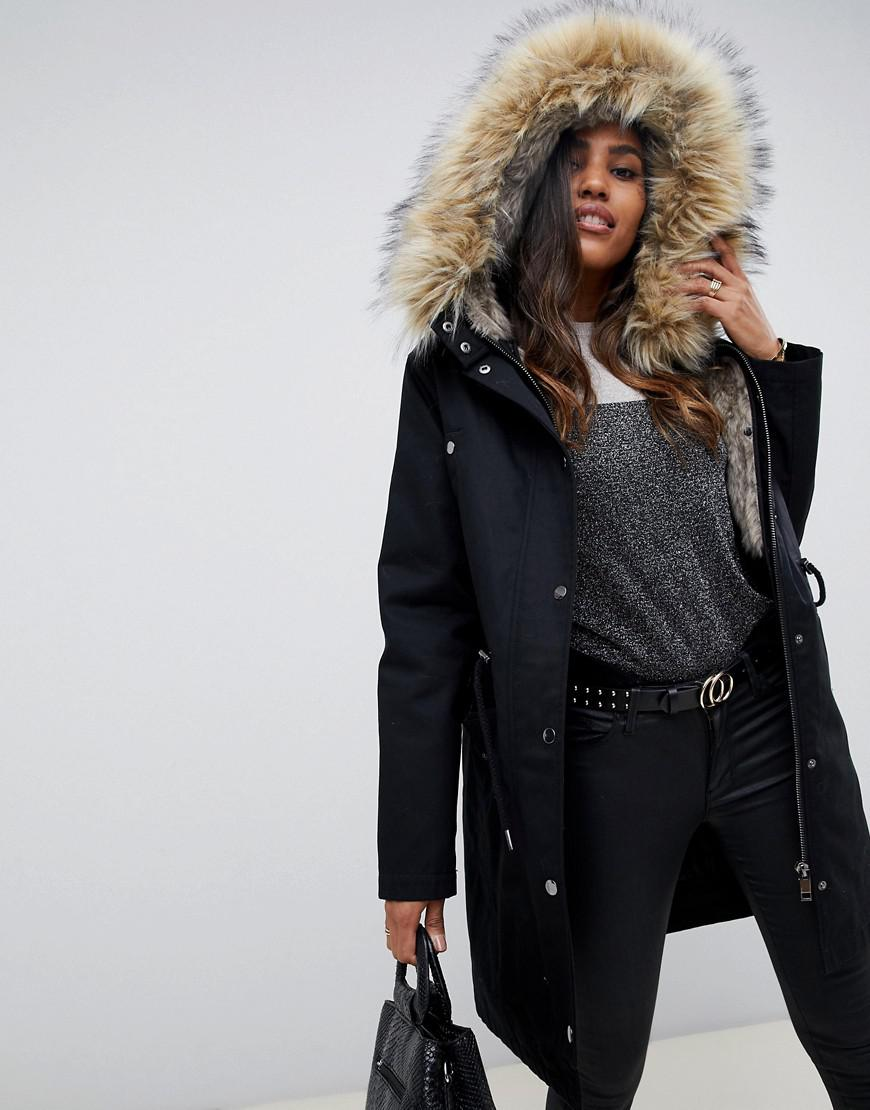 32e47a51c941f ASOS Parka With Detachable Faux Fur Liner in Black - Lyst