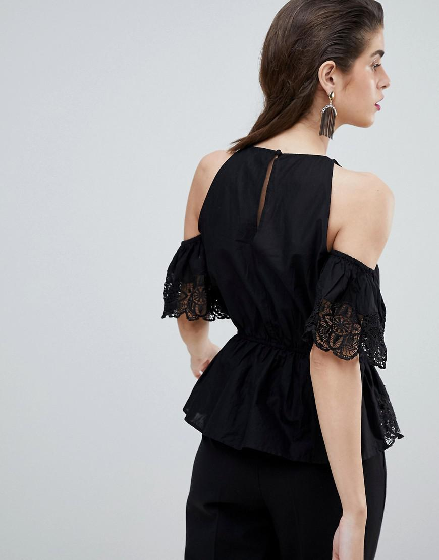 ae2037c5a69f River Island Cold Shoulder Blouse in Black - Lyst