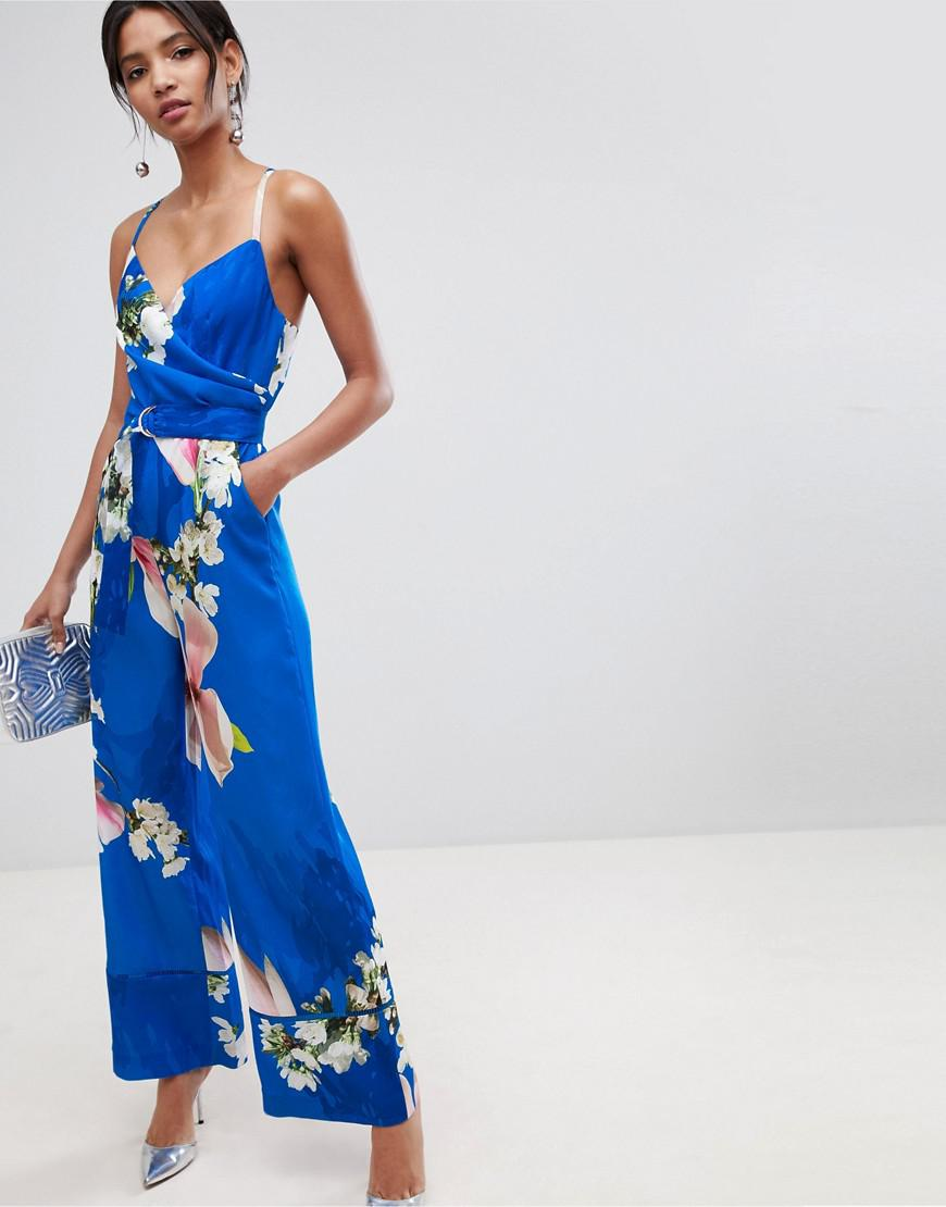 57a743186876 Ted Baker Wide Leg Jumpsuit In Harmony Floral Print in Blue - Lyst