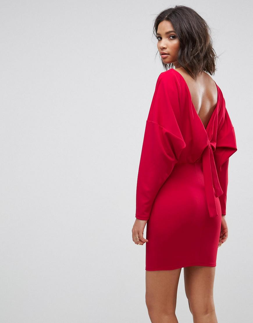 aee2907016d70 Lyst - ASOS Knot Back Batwing Dress in Red