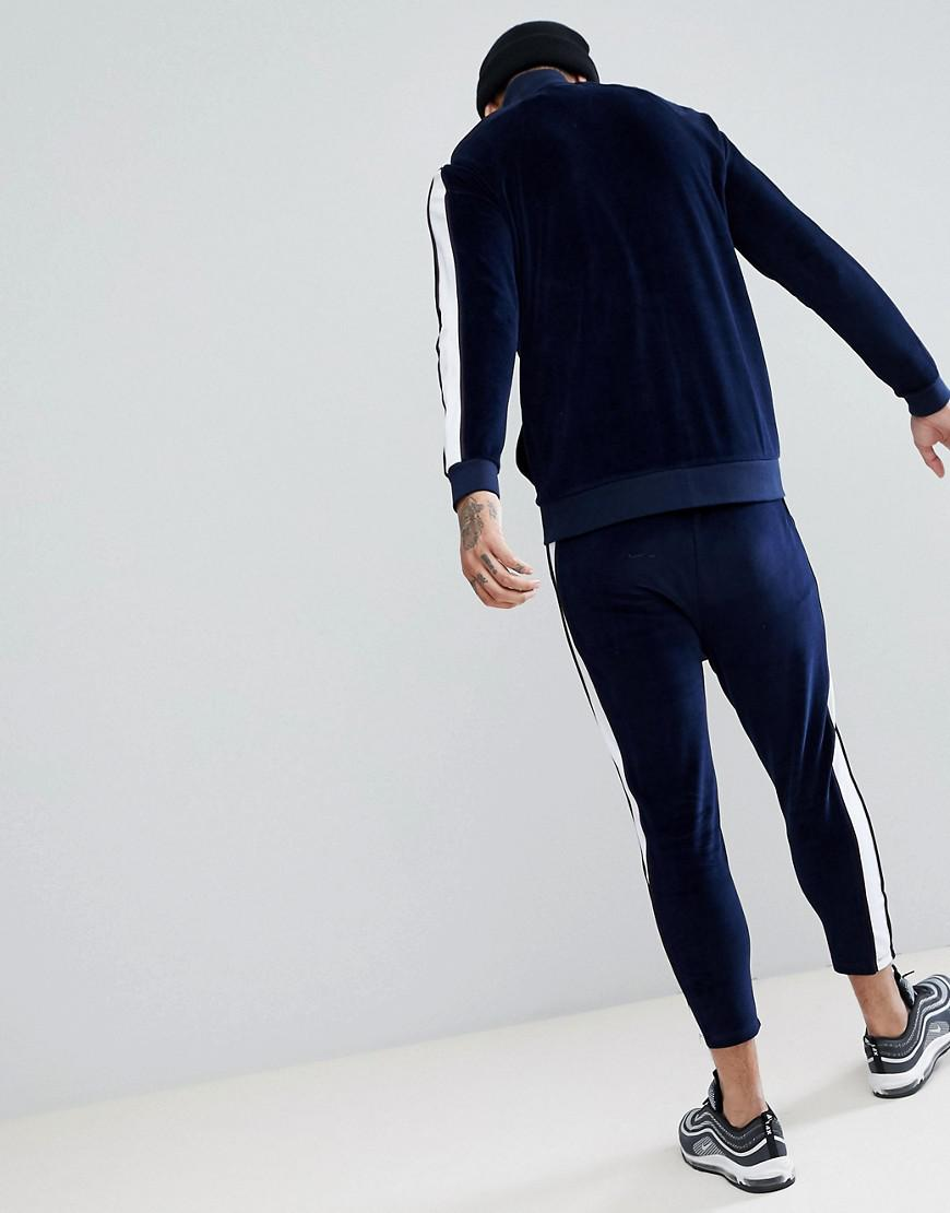 ASOS Denim Asos Tracksuit Track Jacket In Velour With Poly Tricot Panel/ Skinny Crop Sweatpants in Navy (Blue) for Men