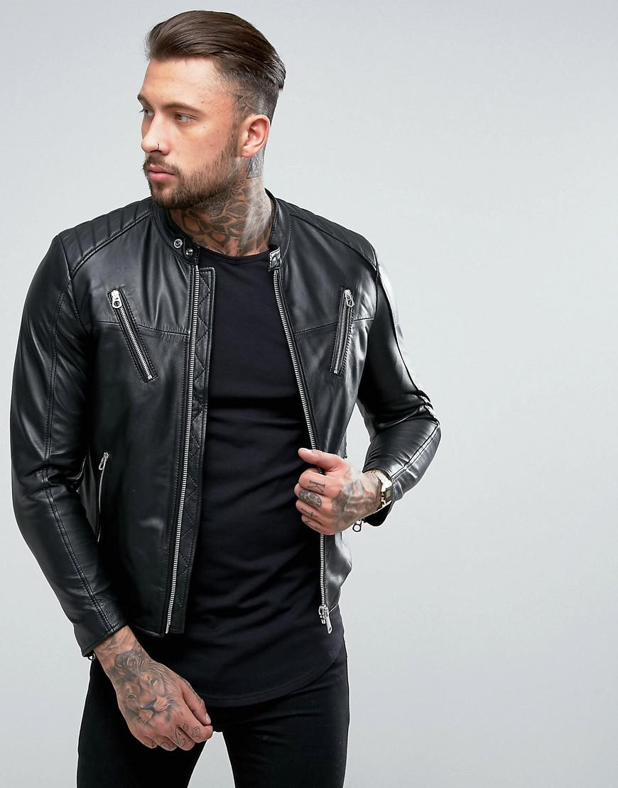 Replay Leather Biker Jacket In Black For Men Lyst