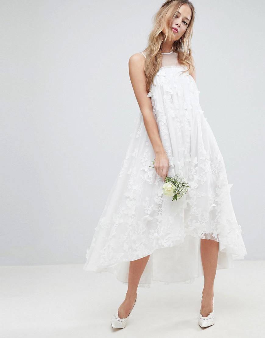 c2e32302794 Lyst - ASOS Bridal 3d Flower Midi Trapeze Dress in White
