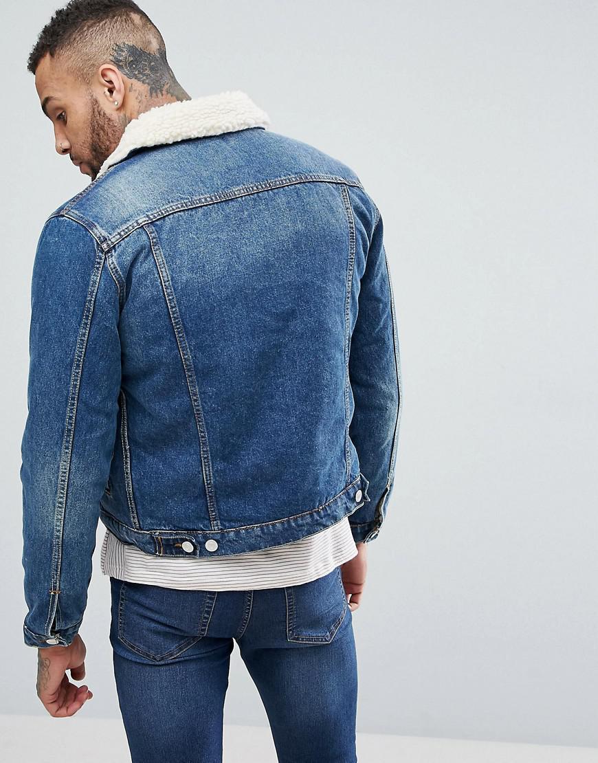 7464b5bb7 New Look Fleece Lined Denim Jacket In Mid Blue Wash for men