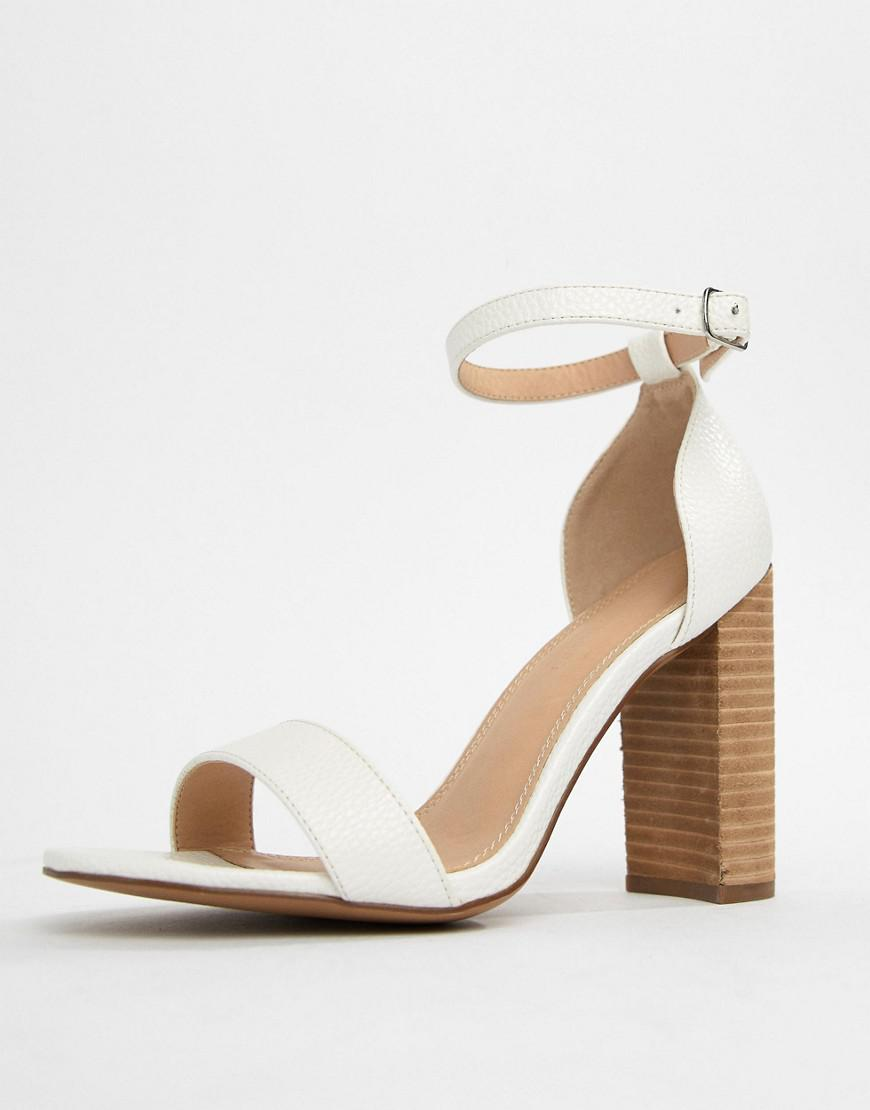 8ffdfe1e476c Lyst - ASOS Tamsina Wide Fit Block Heeled Sandals in White