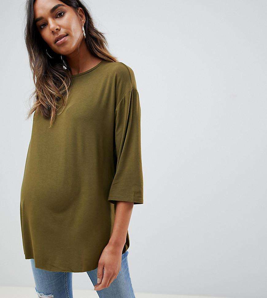ee69e751bf32d Asos Asos Design Maternity Top With 3 4 Sleeves In Drapey Fabric In ...