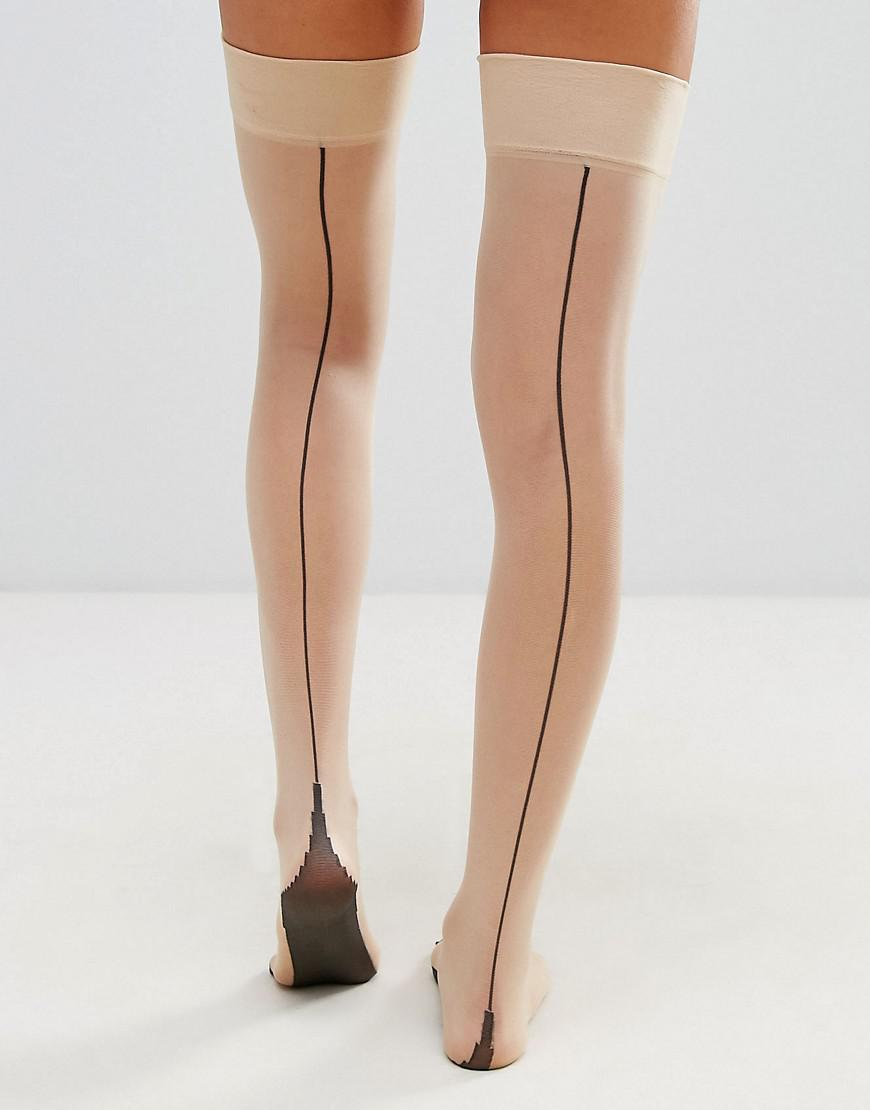 d7129ab21e6 Lyst - Jonathan Aston Backseam And Heel Hold Ups In Natural in Natural