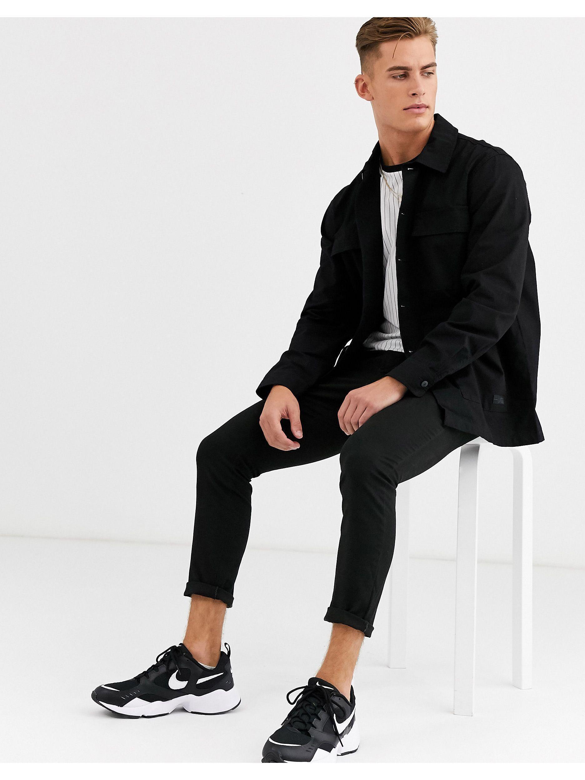 Pull&Bear Denim Join Life - Utility Overhemd Met Meerdere Zakken in het Zwart voor heren