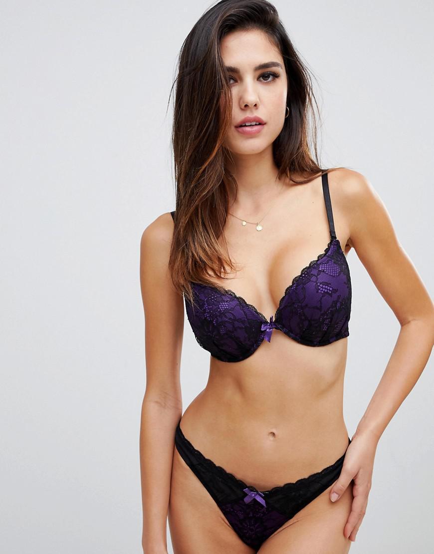 5c8e390a6d149f Ann Summers Darcy Double Boost Padded Plunge Bra In Purple in Purple ...