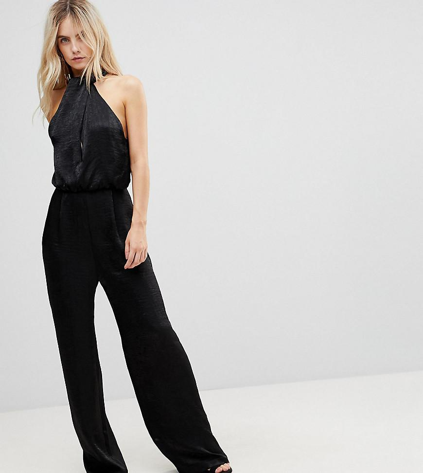 1cae6fe65fc Lyst - ASOS Petite Satin Fold Neck Jumpsuit With Keyhole And Wide ...
