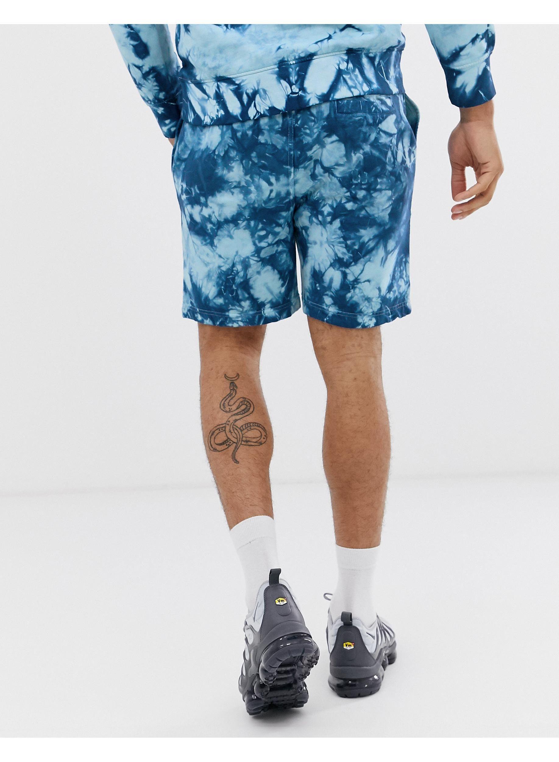 Another Influence Katoen Tie-dye Sweatshorts, Combi-set in het Blauw voor heren
