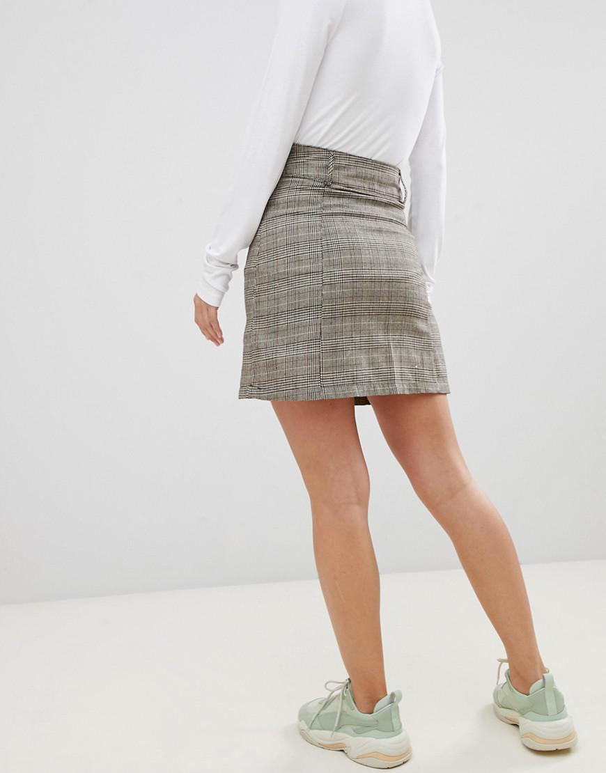 b377af180396 Lyst - UNIQUE21 Checked High Waist Skirt in Brown