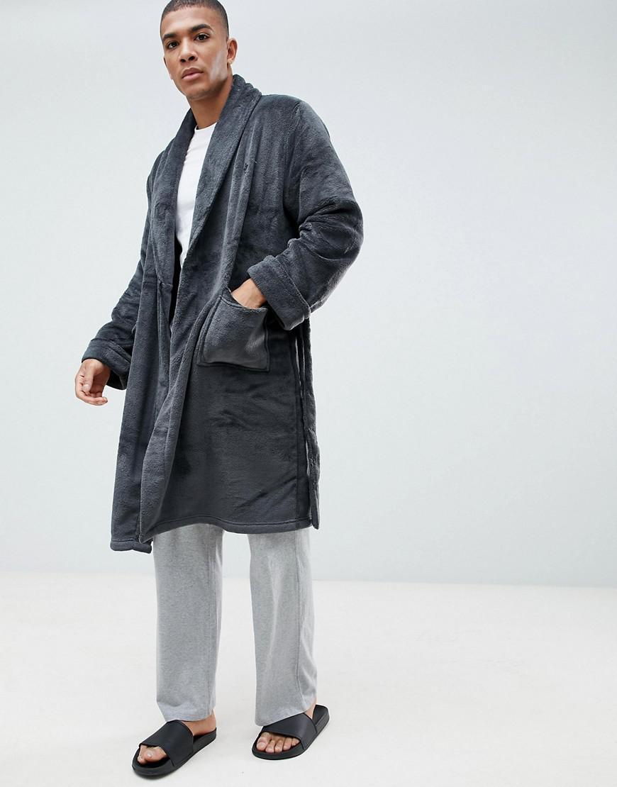 French Connection - Gray Fleece Dressing Gown for Men - Lyst. View  fullscreen 48de89c35