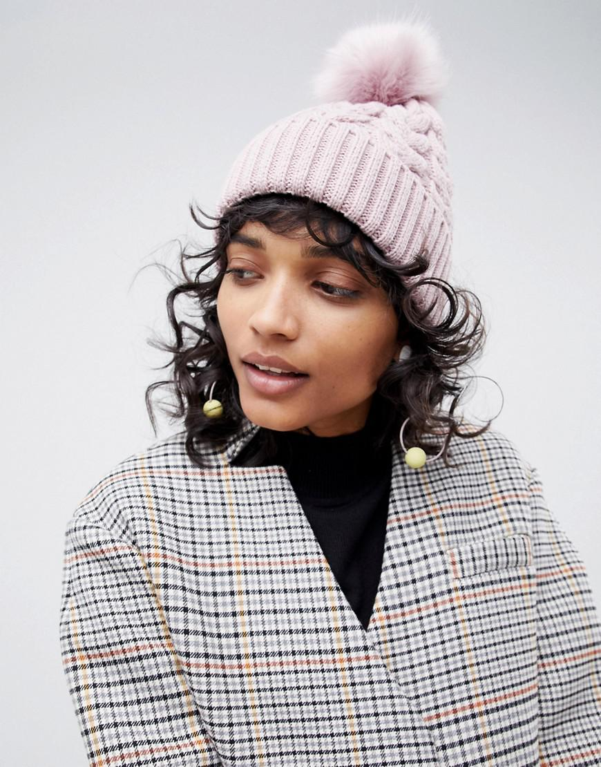 88fb79825 ASOS Pink Cable Faux Fur Pom Beanie In Recycled Polyester