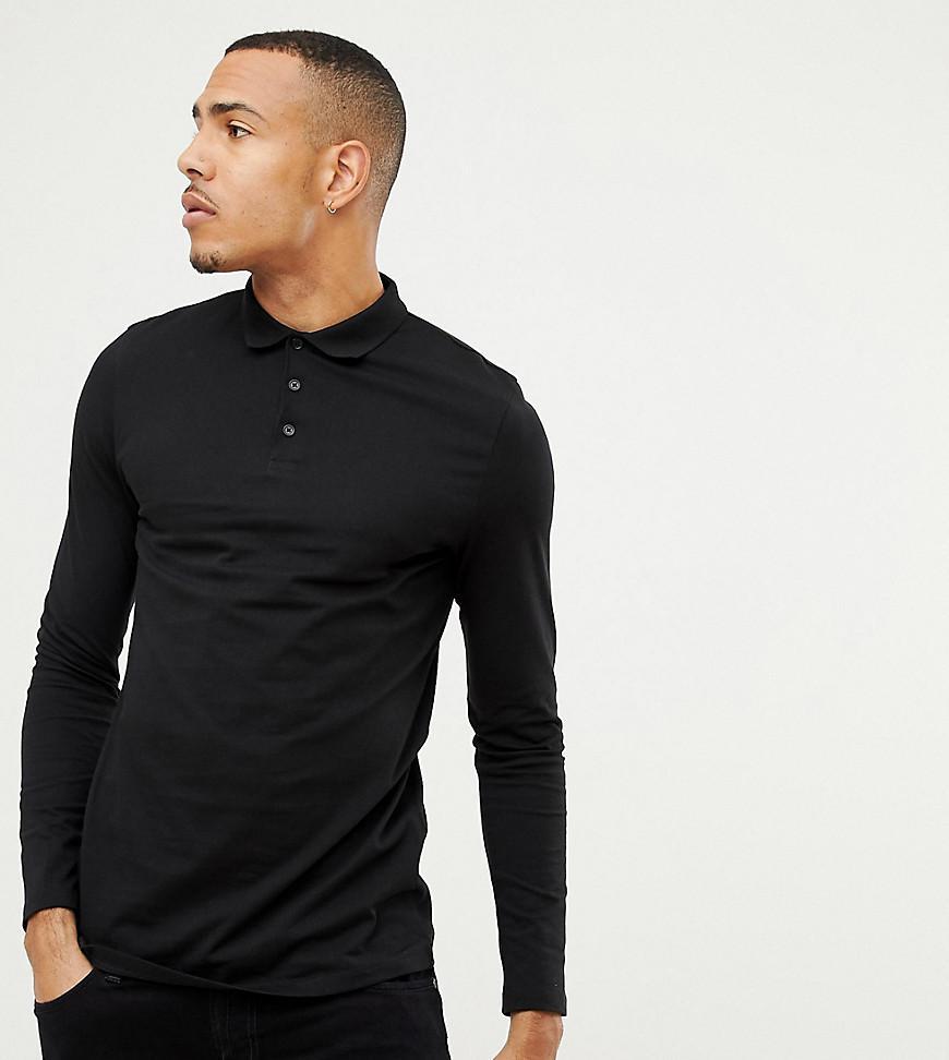 5b3e9c54 Asos Design Tall Long Sleeve Jersey Polo In Black in Black for Men ...