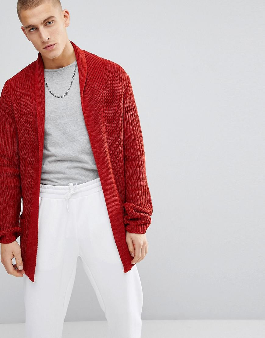 DESIGN knitted cardigan in rib with shawl collar - Khaki Asos Free Shipping Fashionable Buy Cheap Many Kinds Of Cheap Sale Looking For Finishline Cheap Online Perfect For Sale 7fan0we