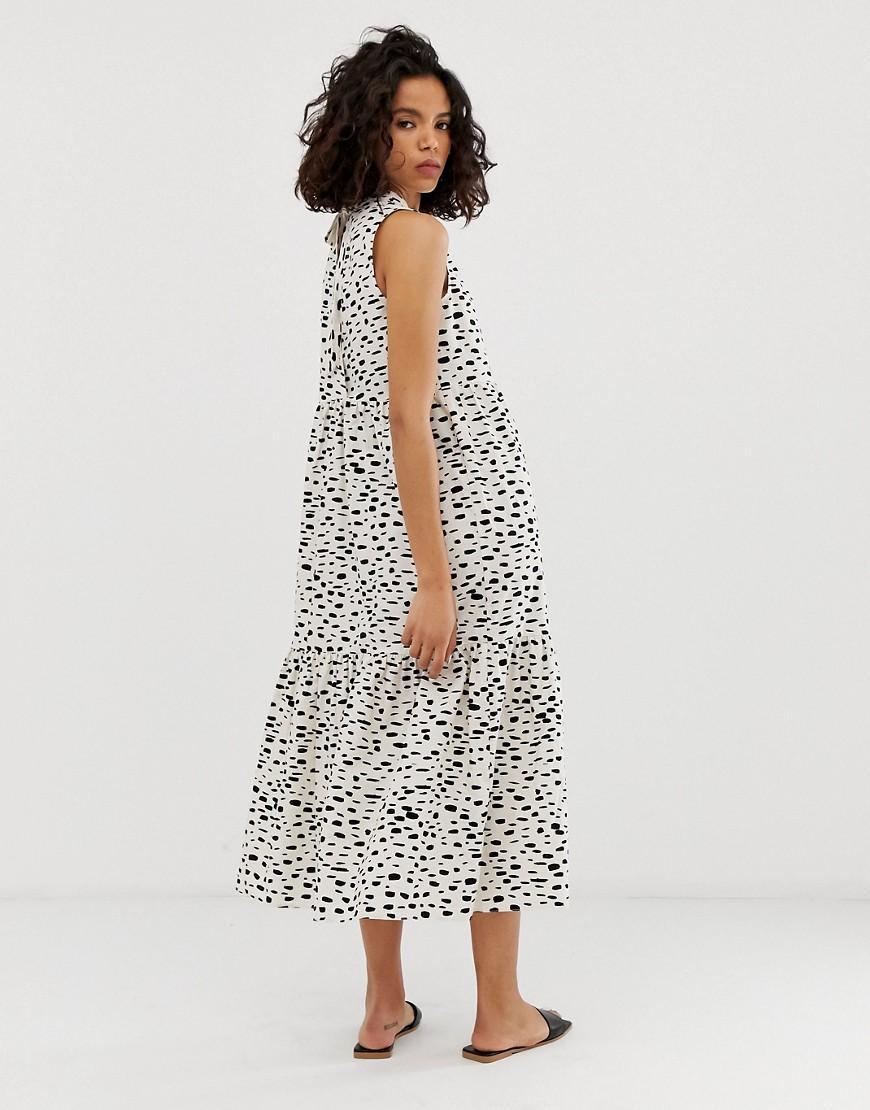 63d93aa638fb Lyst - ASOS Sleeveless Tiered Cotton Midi Dress In Splodge Print