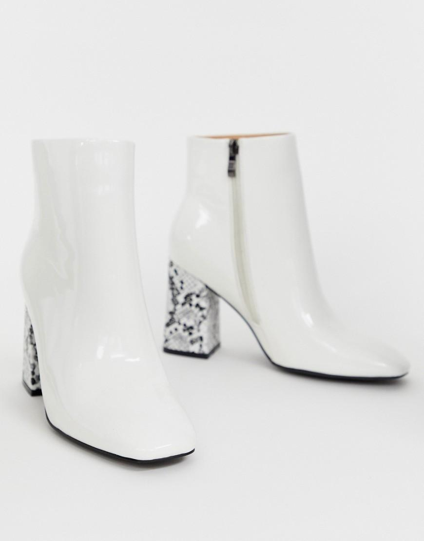 da6bf24d87b Public Desire Vesper Contrast Heeled Ankle Boots In White - Save 43 ...