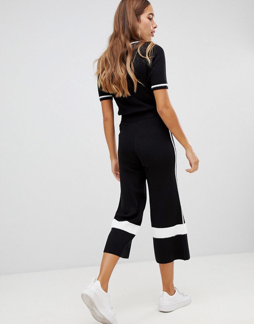 4683221a4da Women s Black Side Stripe Knit Culotte Trousers Two-piece