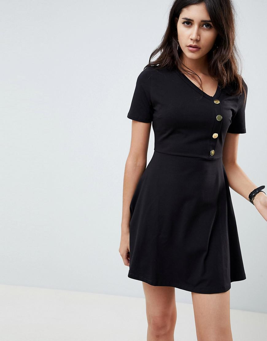 f2194f61cc14 ASOS Mini Skater Dress With Button Front in Black - Lyst