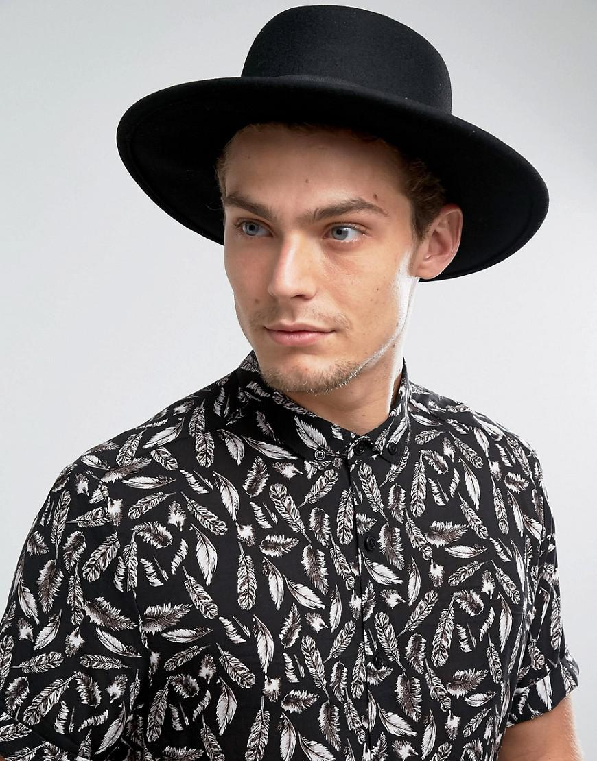 asos pork pie hat in black with diamond crown in black for. Black Bedroom Furniture Sets. Home Design Ideas